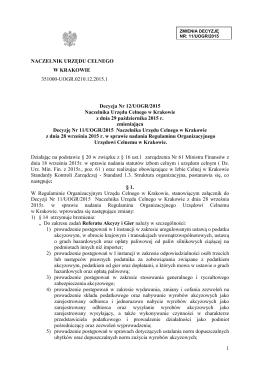 Decyzja 12.2015 zmiana Regulaminu Organ. UC Kraków