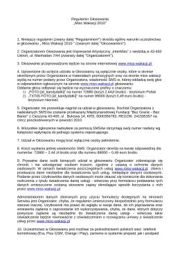 """Regulamin Głosowania """"Miss Wakacji 2010"""" 1. Niniejszy regulamin"""