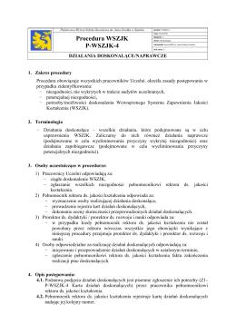 Procedura WSZJK P-WSZJK-4 - Państwowa Wyższa Szkoła