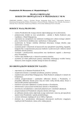 Prawa i Obowiązki Rodziców - Przedszkole nr 96 w Warszawie