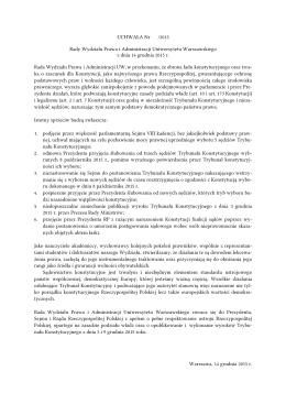 Uchwała Rady Wydziału Prawa i Administracji UW