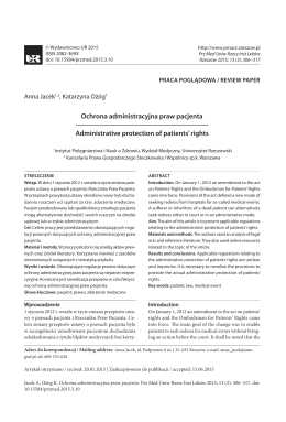 Ochrona administracyjna praw pacjenta Administrative protection of