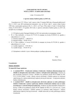 Zarządzenie Nr FIN 109/2015 Wójta Gminy Starogard Gdański z