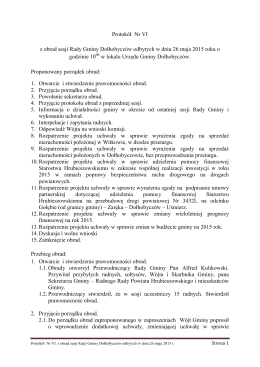 Protokół Nr VI z obrad sesji Rady Gminy Dołhobyczów odbytych w