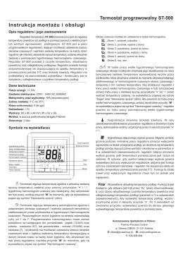 Instrukcja montażu i obsługi regulatora ST-500