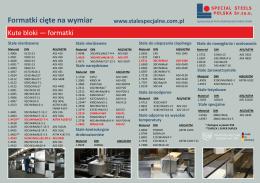 Formatki cięte na wymiar - Special Steels Polska Sp. z oo