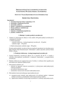 KIERUNEK: EKONOMIA 1. Rodzaje i wymiar praktyk zawodowych 2