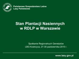 Stan Plantacji Nasiennych w RDLP w Warszawie
