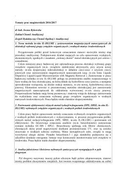 ` Tematy prac magisterskich 2016/2017 dr hab. Iwona Rykowska