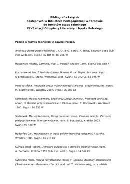 Olimpiada Literatury i Języka Polskiego - XLVI edycja