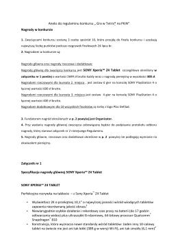 """Aneks do regulaminu konkursu """" Gra w Tetris® na PKiN"""""""