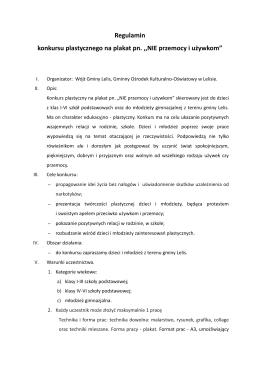 Regulamin konkursu plastycznego na plakat pn. ,,NIE przemocy i