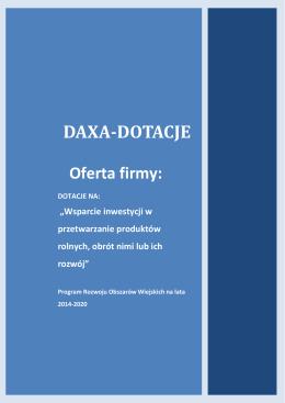 DAXA-DOTACJE Oferta firmy