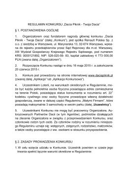 """REGULAMIN KONKURSU """"Dacia Piknik"""