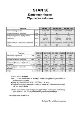 Wycinarka walcowa - dane techniczne