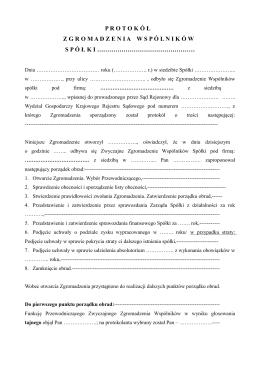 Wzór protokołu zwyczajnego zgromadzenia wspólników spółki z o.o.