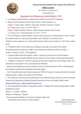 Regulamin Lotu Okręgowego Gołębi Młodych 2015