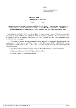 Program i zasady współpracy Gminy Kozłów z organizacjami