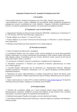 Regulamin projektu - StartAP - Stowarzyszenie Studenckie WIGGOR