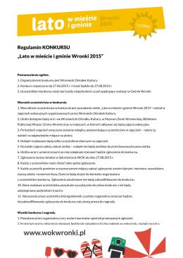 "Regulamin KONKURSU ""Lato w mieście i gminie Wronki 2015"""