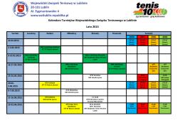 Kalendarz Turniejów Wojewódzkiego Związku Tenisowego w