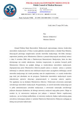 Polska Rada Ratowników Medycznych zaskoczona
