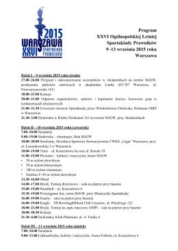 Program XXVI Ogólnopolskiej Letniej