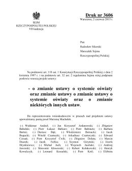 Druk nr 3606 - o zmianie ustawy o systemie oświaty oraz zmianie