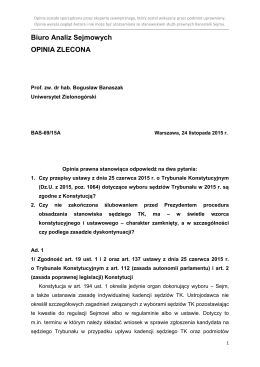 Biuro Analiz Sejmowych OPINIA ZLECONA