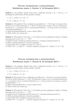 Procesy stochastyczne z zastosowaniami. Kolokwium