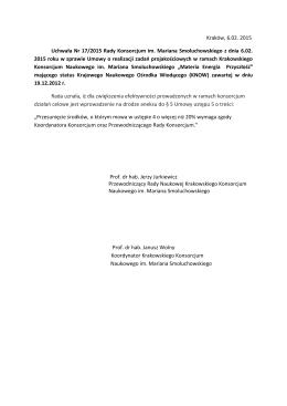 Uchwała Nr 17/2015 Rady Konsorcjum im. Mariana