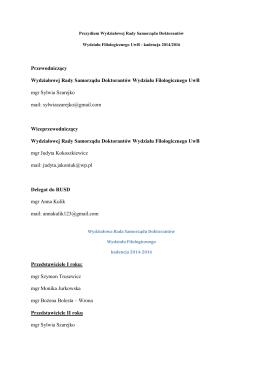 Skład Wydziałowej Rady Samorządu Doktorantów