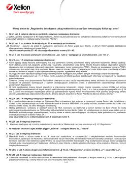 Wykaz zmian w Regulaminie świadczenia usług