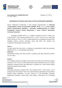 Znak postępowania: CEZAMAT/ZP41/2015 Warszawa, 12.11.2015 r