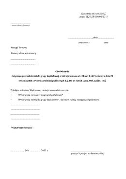 Załącznik nr 5 do SIWZ znak: TK/BZP/110/02/2015
