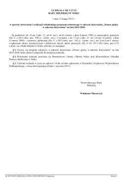 Treść Uchwały Nr V/27/15 z 13 lutego 2015r. w sprawie przyjęcia