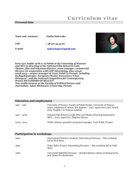 Curriculum vitae - Emilia Sadowska