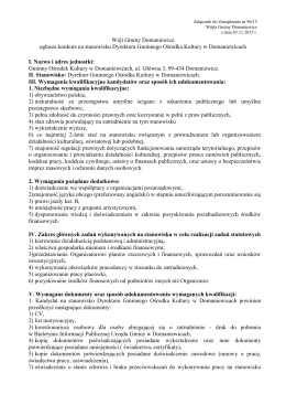 Wójt Gminy Domaniewice ogłasza konkurs na stanowisko Dyrektora