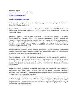 Stanisław Mazur Uniwersytet Ekonomiczny w Krakowie http://gap