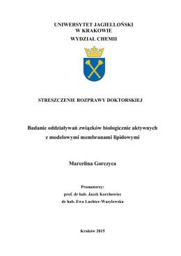 Autoreferat - Wydział Chemii - Uniwersytet Jagielloński w Krakowie