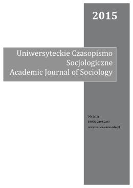 2015 - Uniwersyteckie Czasopismo Socjologiczne Instytutu