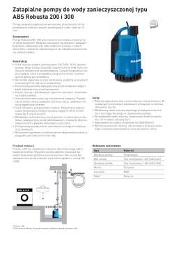 Zatapialne pompy do wody zanieczyszczonej typu ABS