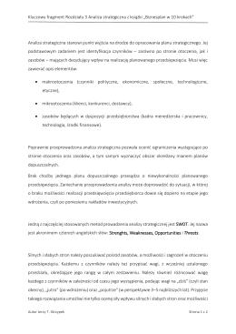 Kluczowy fragment Rozdziału 3 Analiza strategiczna z książki