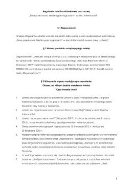 Regulamin Loterii Promocyjnej pod nazwą