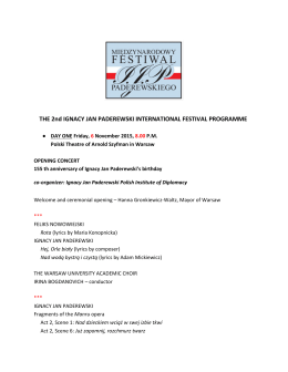 THE 2nd IGNACY JAN PADEREWSKI INTERNATIONAL FESTIVAL