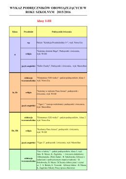 klasy I-III WYKAZ PODRĘCZNIKÓW OBOWIĄZUJĄCYCH W ROKU