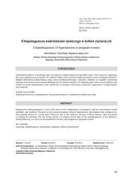 Etiopatogeneza nadciśnienia tętniczego u kobiet ciężarnych