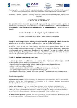 Program szkolenia Prawnik w mediacji