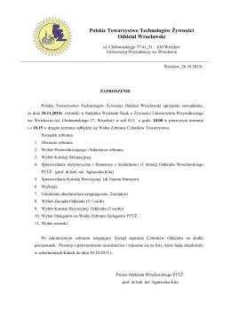 Polskie Towarzystwo Technologów Żywności Oddział Wrocławski