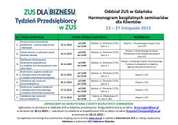 Oddział ZUS w Gdańsku Harmonogram bezpłatnych seminariów dla